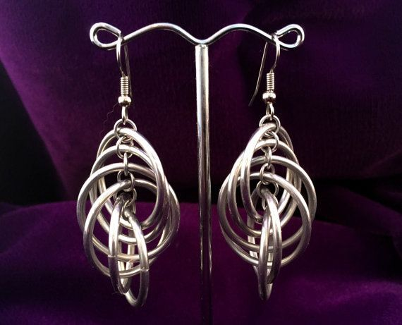 Chandelier Chainmaille Spiral Earrings - Aluminum Spiral Loops 6 - by TalespunMaille
