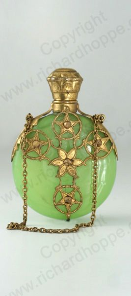 ANTIQUE & VINTAGE SCENT PERFUME BOTTLES. Continental filigree metal cased glass, mid to later 19th century.