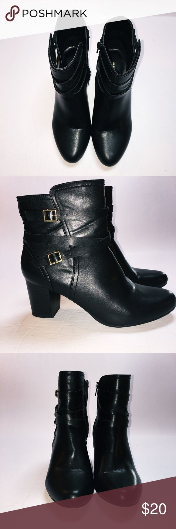 """Liz Claiborne black boots Black side zip boots with gold buckle and straps detail. EUC, worn once. Zippers work normally. 2.5"""" heel. Size 8.5. All man made materials. No box. Smoke free pet friendly home. Offers welcome. Liz Claiborne Shoes Ankle Boots & Booties"""