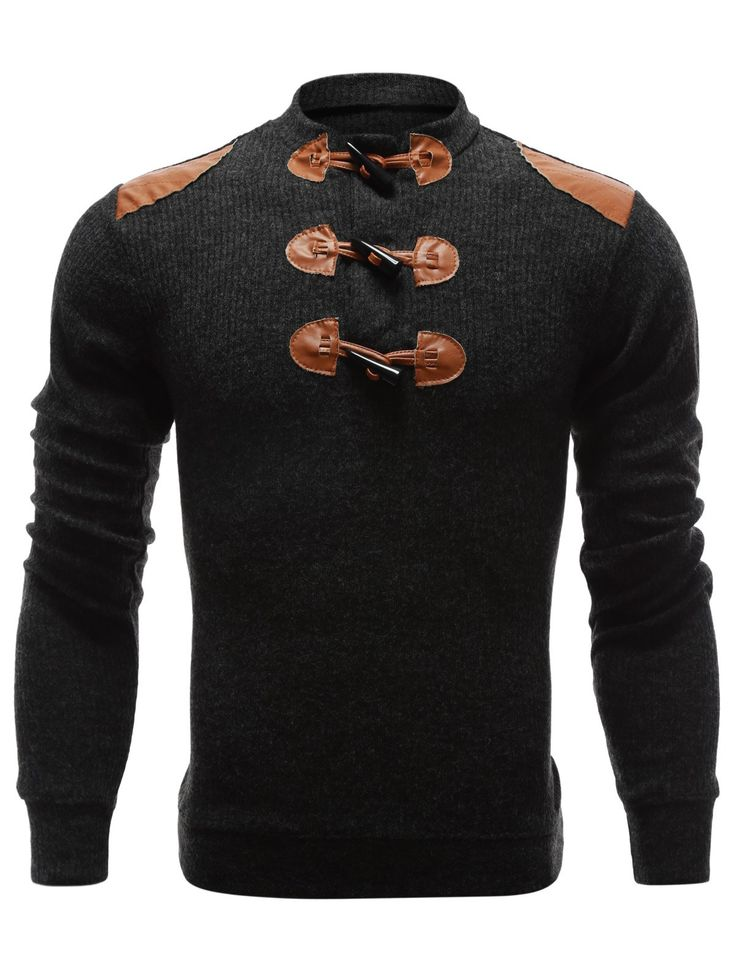 $10.02 Shoulder Patch Claw Button Long Sleeve Ribbed Sweater