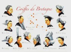 COIFFES DE BRETAGNE: Cap Sizun, Leon, Kapenn, Carhaix, Bigouden, Glazig, Giz Fouen, Lorient, Vannes, Nantes. ✫ღ⊰n