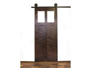 Krosswood Knotty Alder Cheveron 2 Panel 2 Lite Solid Core With Clear  Tempered Glass Barn Door Slab