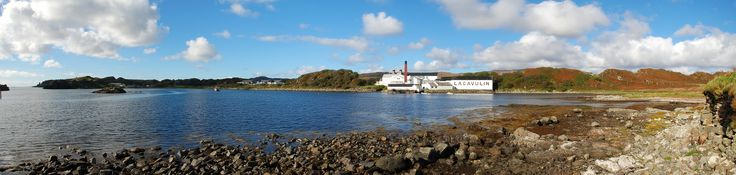 Lagavulin Distillery Bay panorama, seen from Dunyvaig Castle