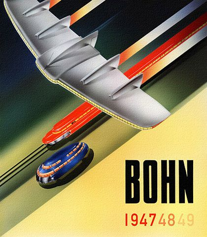 An advert for the city of Bohn? And is that on of Bucky Fuller's Dymaxion car concepts?