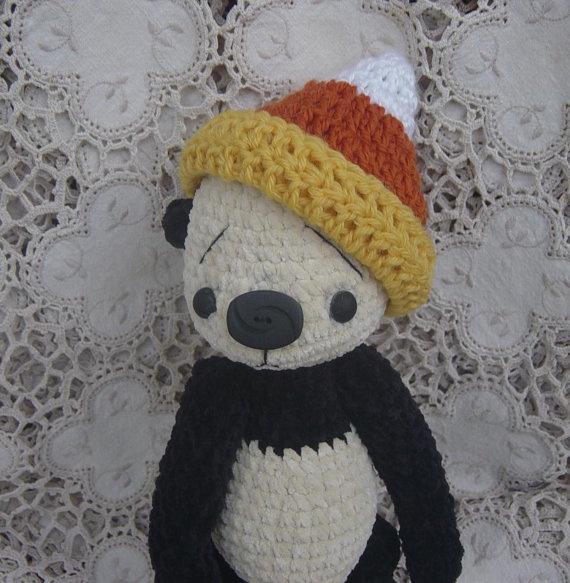 Artist teddy bear Panda Candy Corn thread by crocheteddybears, $42.00