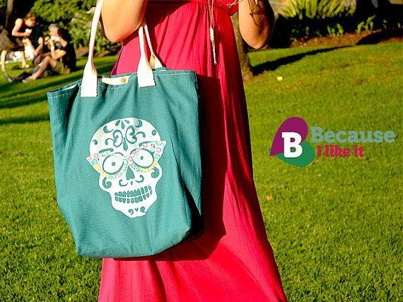 Skull with sunnies tote bag  Handmade and hand by becauseilikeitAU