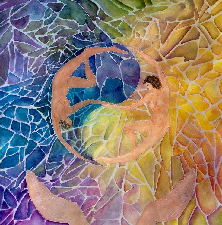Aquarel made by Els van der Lugt 1-2015 Yin en Yang. Uitbeelding : lichte en donkere ervaringen. Als mens ga je hier in heen en weer.