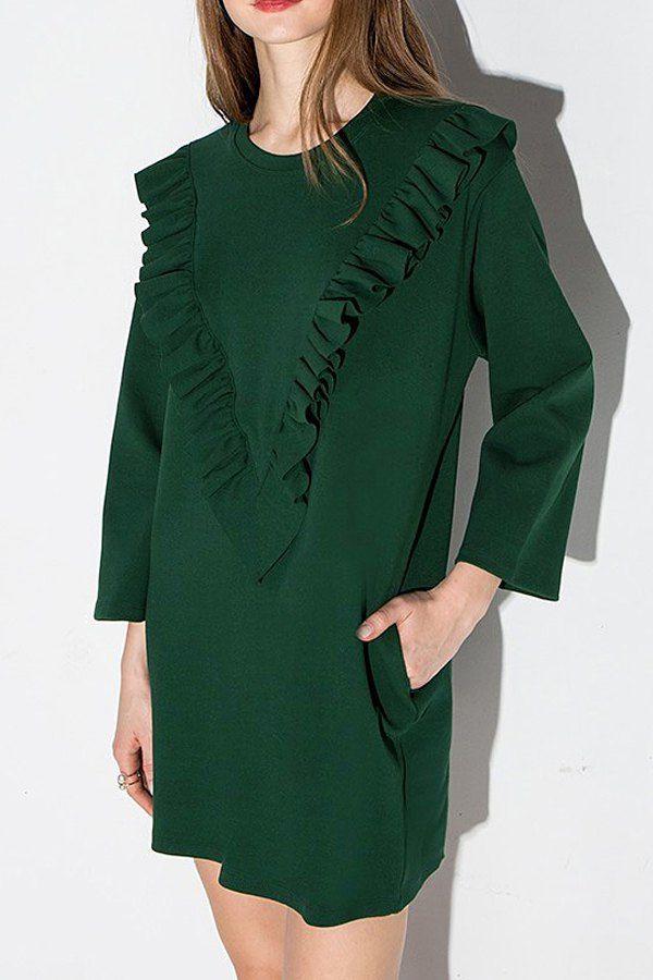 3/4 Sleeve Frilled Green Dress