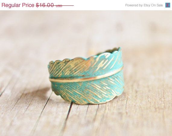 SALE Verdigris Feather Ring - Hand Forged Brass Feather Ring,Shabby Chic,Adjustable,Feather Jewelry,Wrap Ring,Patina,Bridesmaids Jewelry,Woo on Etsy, $14.40