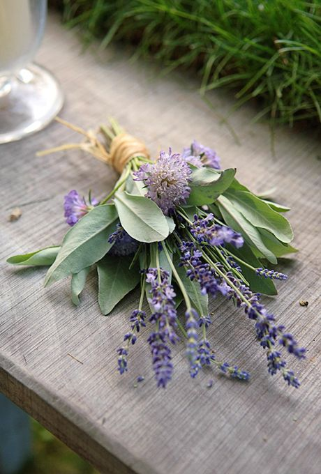Bohemian Bouquet with Lavender and Sage. Connecticut florist Sarah Worden Natural Design created this fresh-from-the-garden bouquet, featuring sprigs of sweet-smelling lavender and sage.