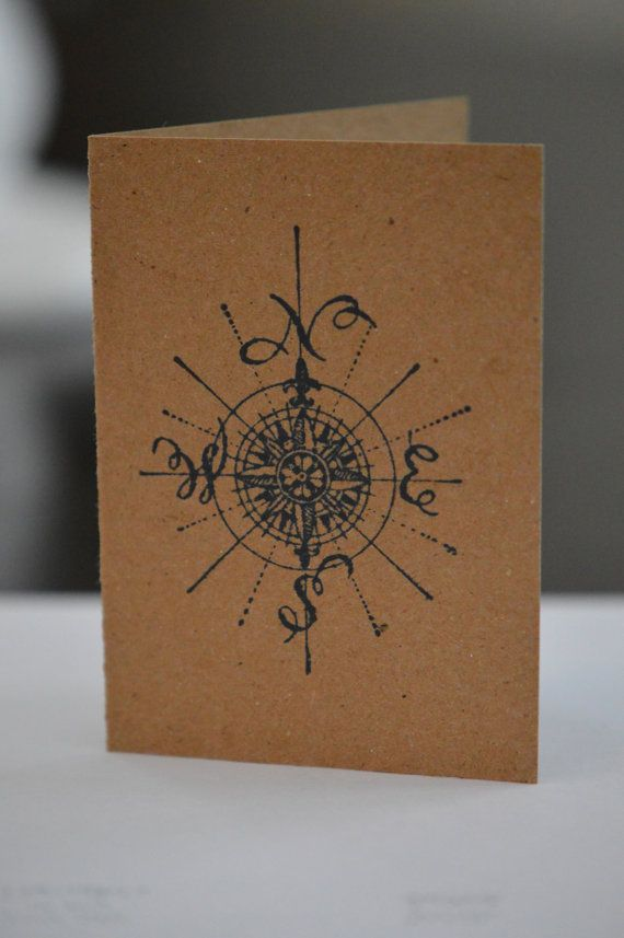 Nautical Compass Rose Greeting Card by SlackTied on Etsy