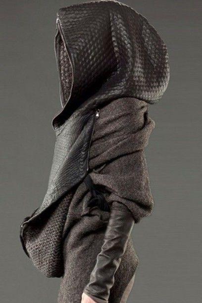 Jacket: goth ninja, hoodie, hooded jacket, leather jacket