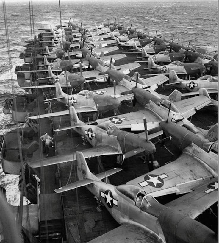 P-51 Mustangs taking the long and leisurely route to the war fronts.