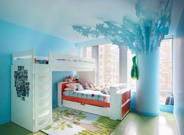 Nursery idea modern cabinet light blue tree bed white