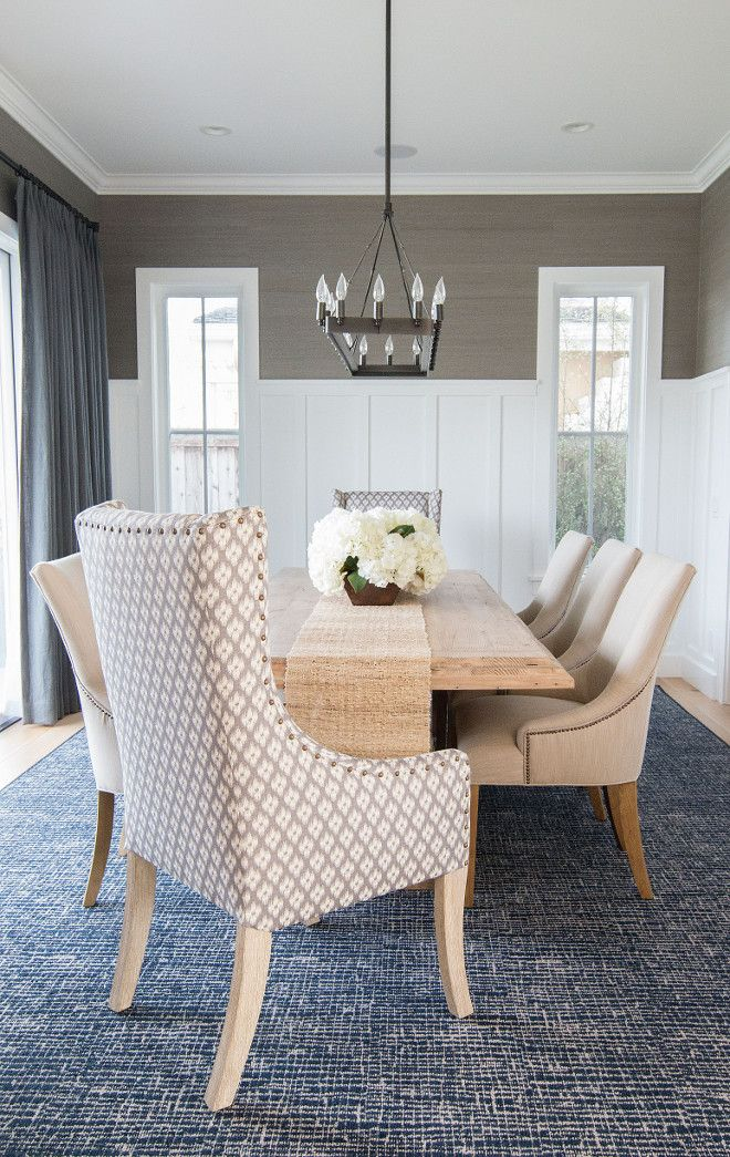 Dining room wainscoting. In this dining room, the designer added a slate blue gray grasscloth wallpaper above the wainscot that really adds…