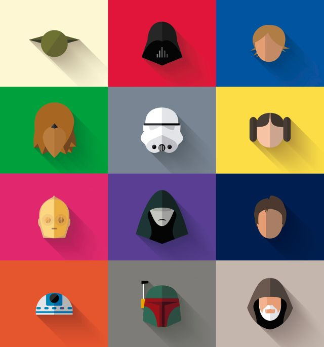 Star Wars Long Shadow Flat Design Icons