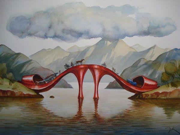 Vladimir Kush - Fashionable bridge