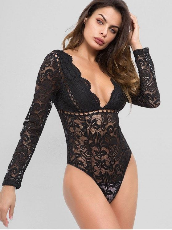 d43e23e9a7 Black Spring Hollow Solid Long Plunging Sexy Club Hollow Out See Through Lace  Bodysuit