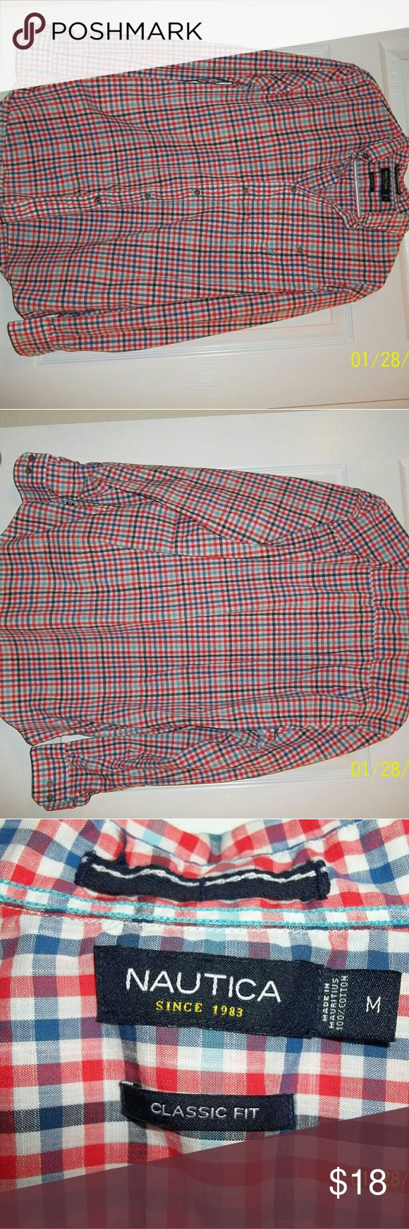 Nautica classic fit long sleeve button down sz M Nautica orange/blue/white checkered long sleeve with single chest pocket. Great condition. Nautica Tops Button Down Shirts