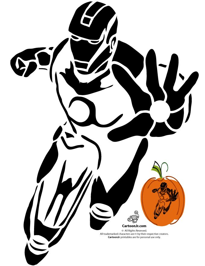 Marvel s avengers printable pumpkin stencils iron man