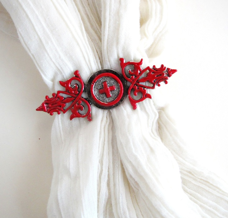 Red Cross Filigree Brooch    http://www.etsy.com/listing/92340198/red-cross-filagree-brooch
