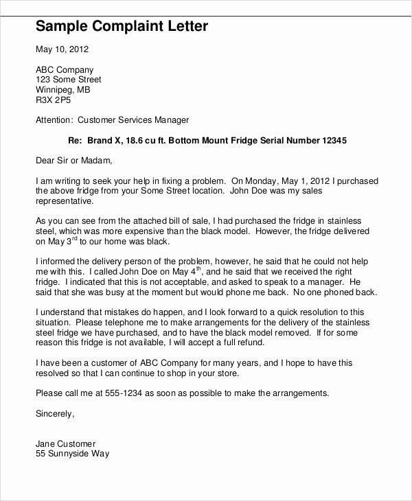 Complaint Letter To Company Luxury 36 Plaint Letter Samples In 2020 Professional Cover Letter Template Cover Letter Design Simple Cover Letter Template