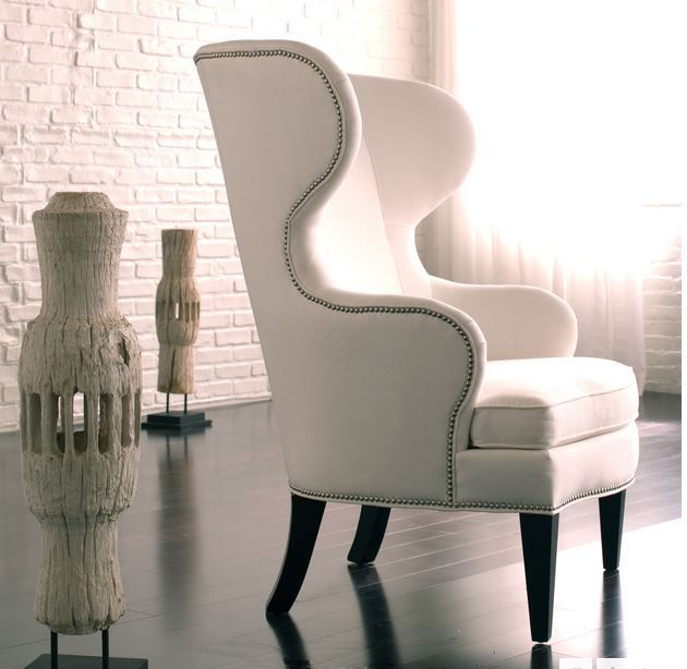 Attractive Ethan Allen Rand Chair, In White Fabric With Nickel Nailheads
