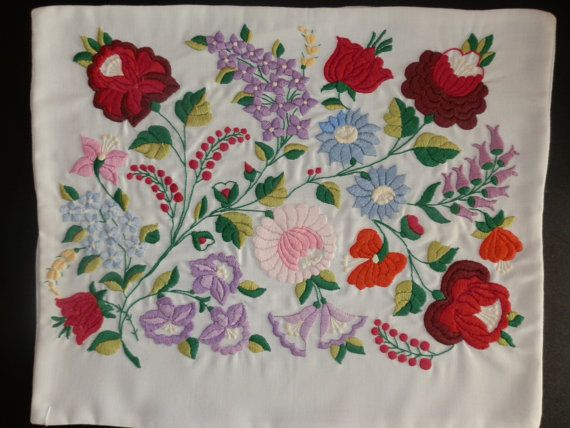 Traditional hand made Hungarian vintage embroidered natural white linen pillow case with Kalocsa