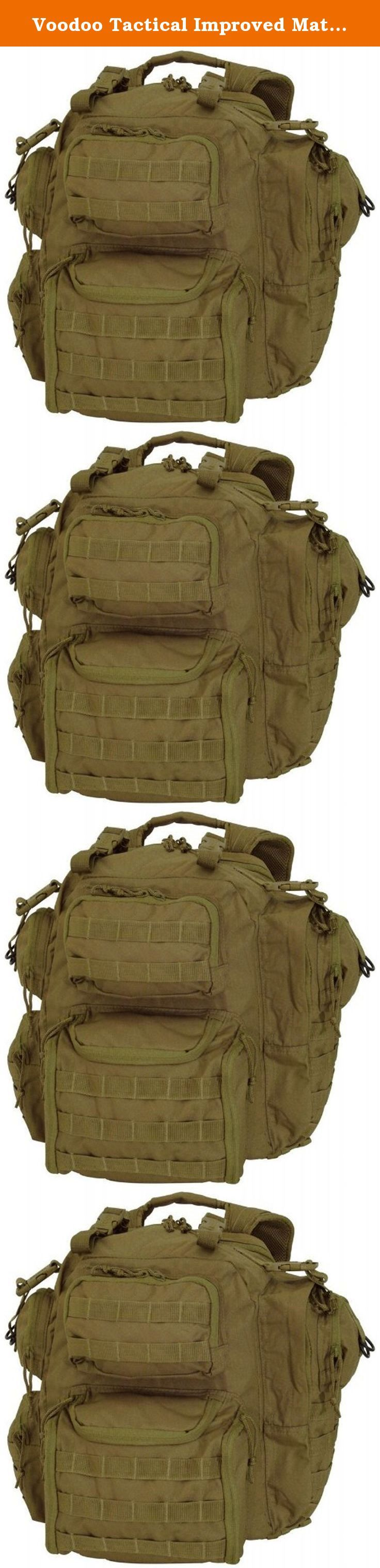 Voodoo Tactical Improved Matrix Pack Backpack MOLLE - Hydration Compatible - 15-9032 Coyote Brown / Tan. The Voodoo Tactical Improved Matrix Pack / Backpack / Rucksack is the perfect size with padded comfort back and adjustable padded shoulder harness with attached electronic instrument pouches. Multiple side, upper and lower rear pockets, all with reversed YKK coil zippers to keep the sand out. Lots of universal / MOLLE webbing for various pouch attachments, integrated handles with extra...