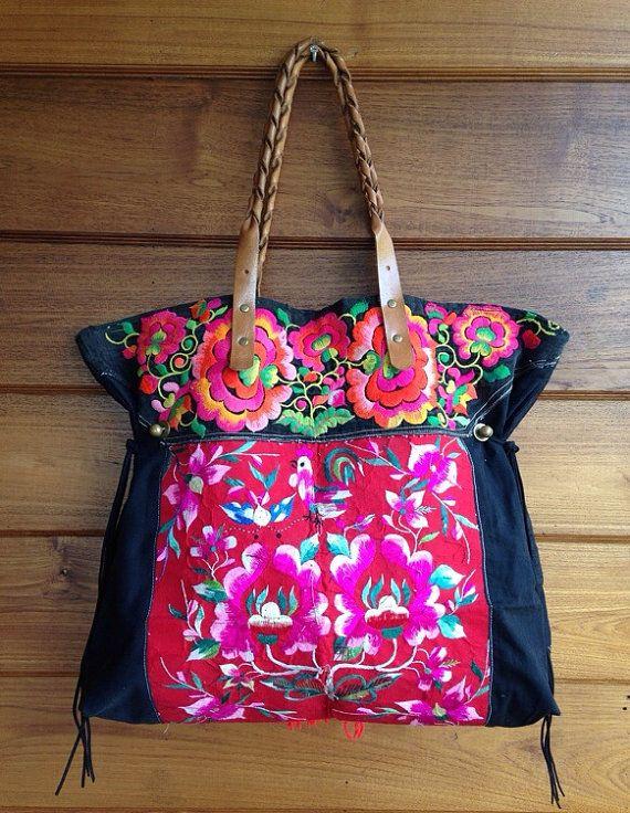 Vintage Hmong baby carrier tote bag ethnic handmade por LavishLanna