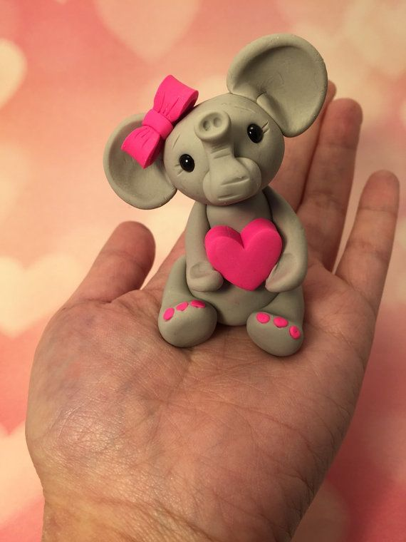 Little Gray Elephant with Hot Pink Bow and by artbysarahprice