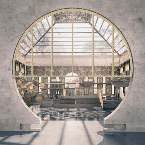 The conceptual factory contains highly ornamental interiors and library and education spaces