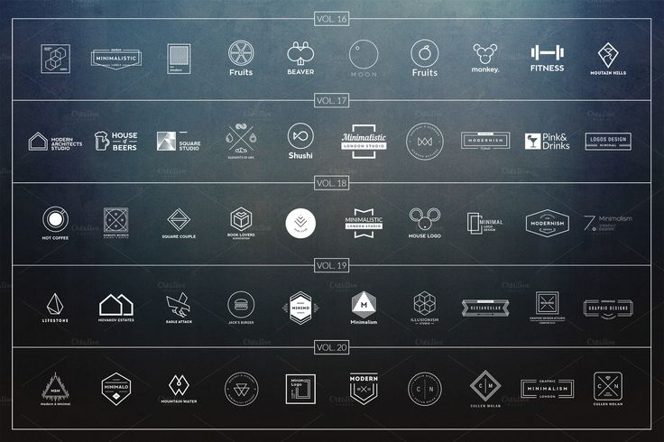 200 Minimalistic Logos - All Volumes by Piotr Łapa Atelier on Creative Market