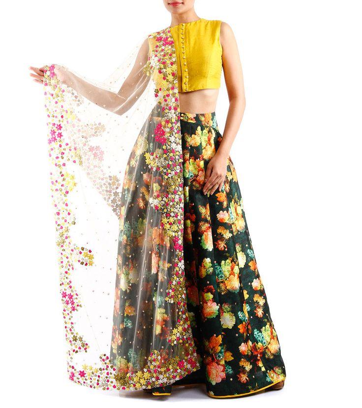 Mustard Raw Silk Crop Top & Green Printed Skirt Set With Dupatta=I AM…