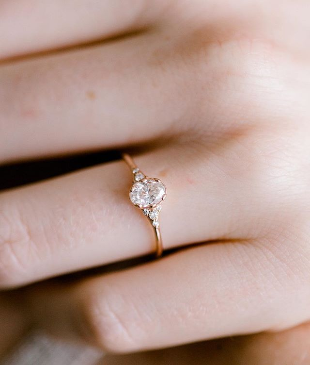 Oval Ladys Slipper Ring With A Half Carat White Diamond Set In 14k Rose Gold More Info Simple Engagement Rings Small Engagement Rings Vintage Engagement Rings