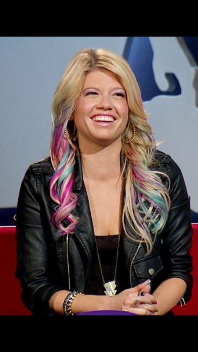 Chanel West Coast's blonde pink and blue hair