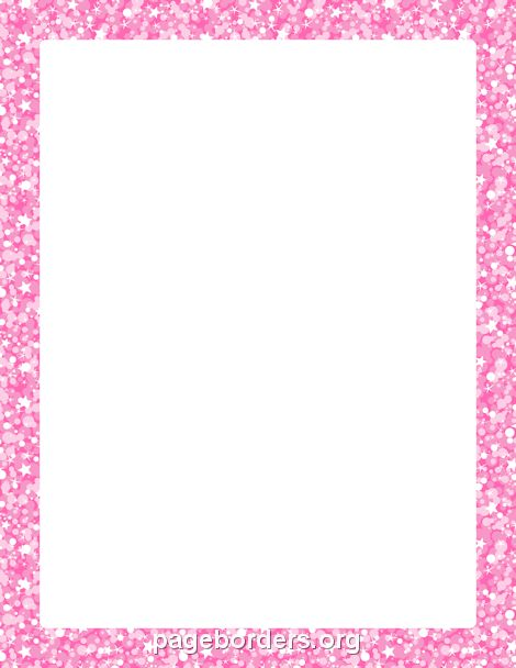 Printable pink glitter border. Use the border in Microsoft ...