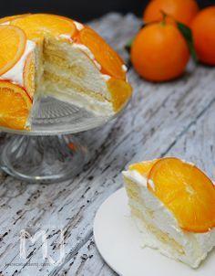 Tarta mousse de yogurt y naranjas confitadas / Cake yogurt mousse with candied oranges
