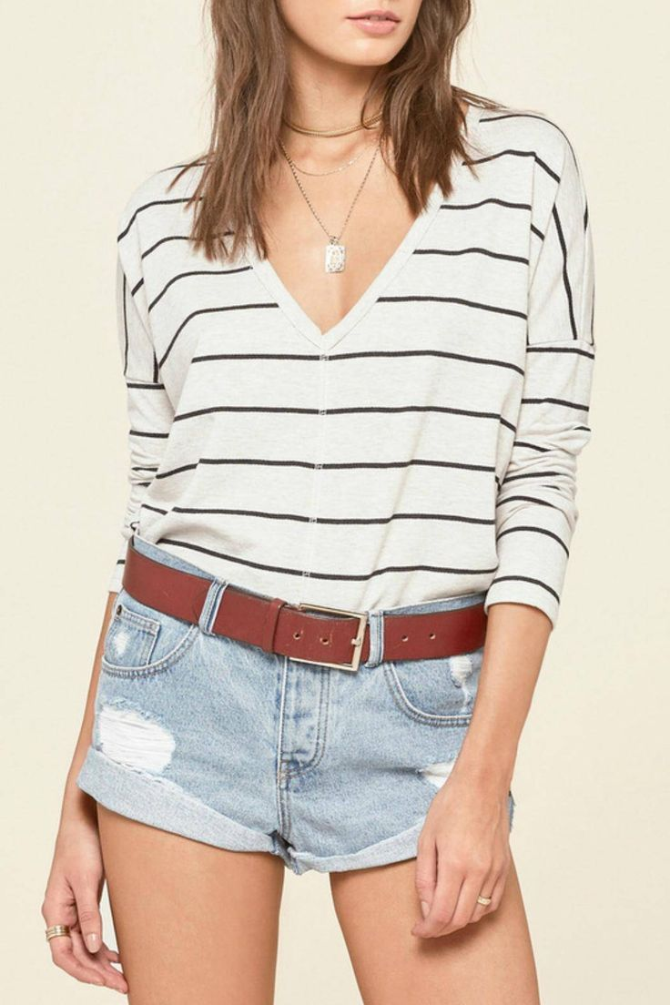 Stripe long sleeve top with drop-shoulder detail. Vneckline and high-low cut hemline.   Striped Long Sleeve Top by AMUSE SOCIETY. Clothing - Tops - Long Sleeve Clothing - Tops - Casual New Mexico