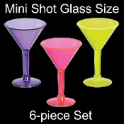 Mini Assorted Color Luau Bachelorette Hen Party MARTINI MARGARITA SHOT GLASS Shooters-6pc Black Light Reflective Miniature Drink Cup SET-Rave, Luau, Cocktail Bar, Graduation, Girls Night Out, Costume Accessories, decorations and party supplies.