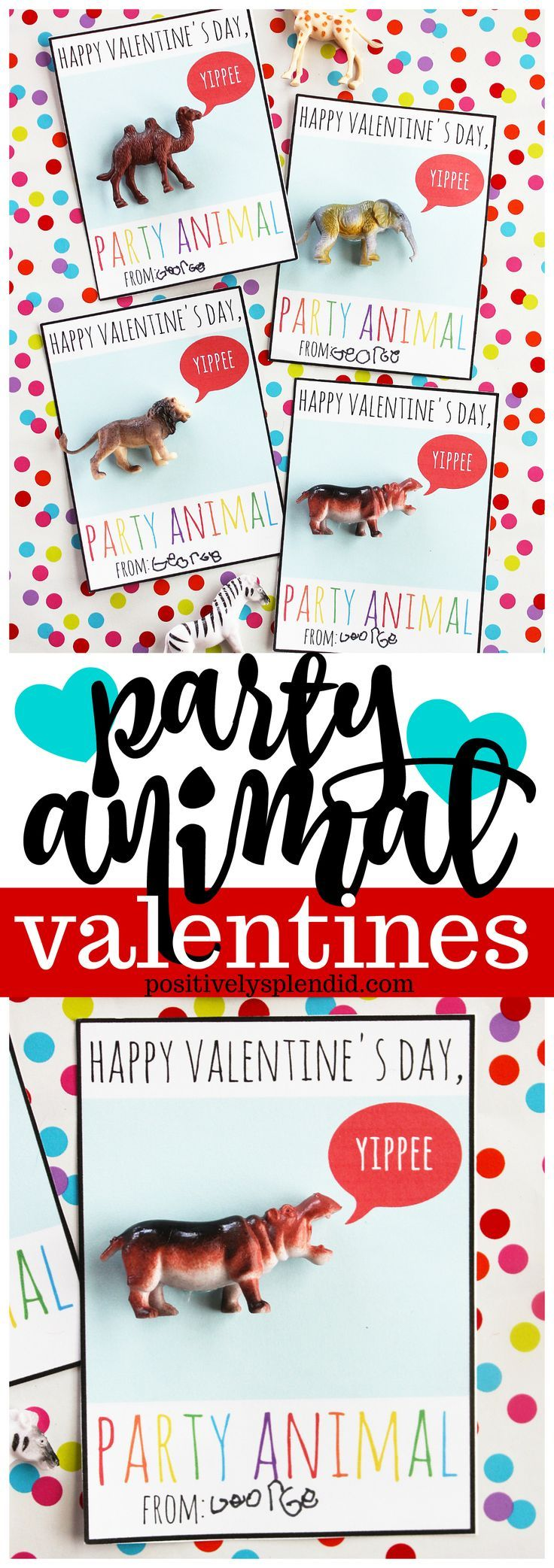 Party Animal Printable Valentines - Fun candy-free handmade valentine cards forkids!#valentinecard#kidsvalentinecard#valentineprintable #valentinesday
