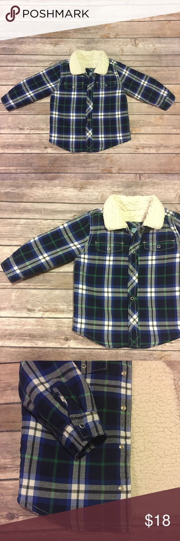 Baby Gap Sherpa Lined Plaid Shirt, 18-24 months Baby Gap (outlet) Sherpa Lined Plaid Shirt, flannel over sherpa makes this a cozy option. Could double as a jacket in the right climate. Worn just a few times. EUC GAP Shirts & Tops Button Down Shirts