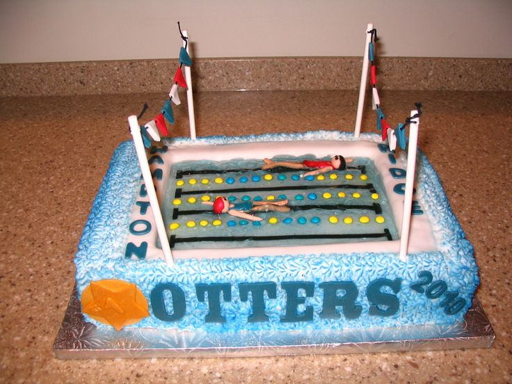 Swimming Pool Cake Ideas pool party cakes swimming pool cakes My First Pool Cake Made This For My Girls Swim Team End Of Season Banquet