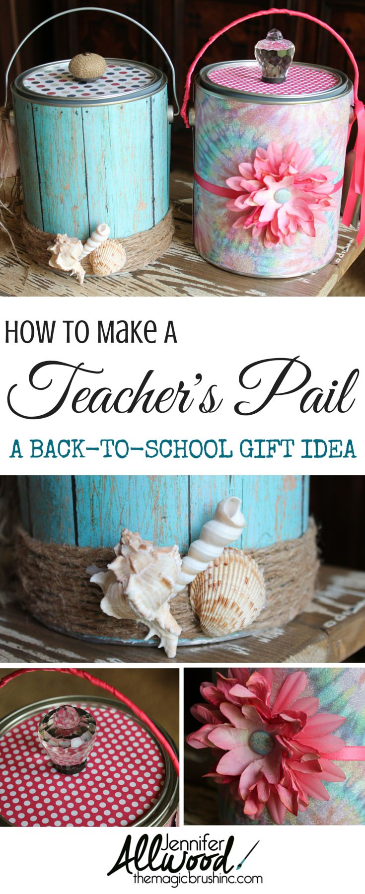 """An Easy DIY Back-to-school Teacher's gift! Every year I make my elementary school teachers a """"paint pail"""". We also refer to it in our house as a """"brown nosing bucket"""". More projects at theMagicBrushinc.com"""