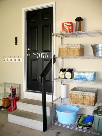 painted door & metal shelves for boots & shoes