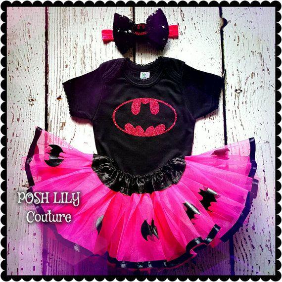 Hotpink Batman tutu set Batgirl baby costume by PoshLilyCouture