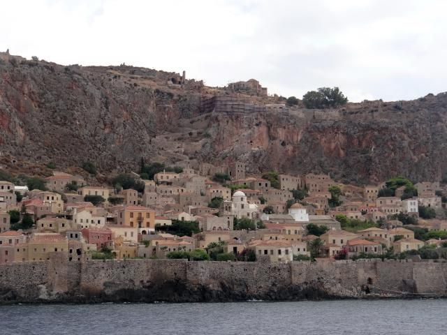 Monemvasia is a picturesque medieval town on the Peloponnese peninsula in Greece. It sits on a giant rock and is linked to the mainland by a narrow causeway.