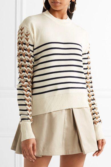 Y/PROJECT Velvet-trimmed striped merino wool sweater