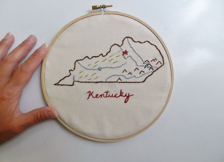 Kentucky State Map Wall Art. Home Map. Hand Embroidery Hoop Art. 7 in. Home state map. Travel Map Art. Personalized Art. Gallery Wall.  College Dorm.  https://www.etsy.com/listing/453994964/kentucky-state-map-wall-art-home-map