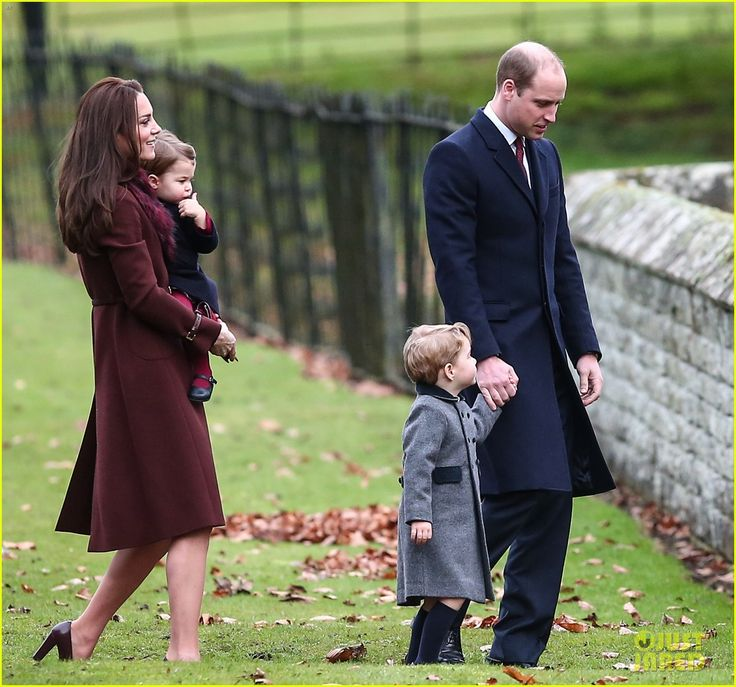 The Duke and Duchess of Cambridge, Prince George, and Princess Charlotte attend church on Christmas Day 2016, while visiting the Duchess' parents.